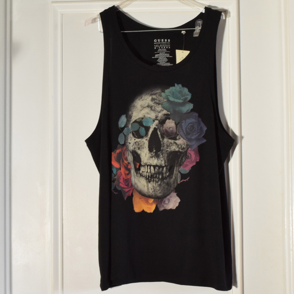 a865e67381ee22 Guess Skull and Roses Black Tank Top Men XL New
